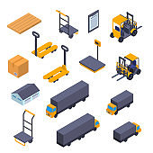 Warehouse Sign 3d Icon Set Isometric View. Vector