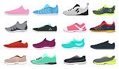 Cartoon Color Different Sneakers Shoes Set. Vector