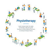 Physiotherapy People Banner Card Circle 3d Isometric View. Vector