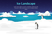 Cartoon Arctic Ice Landscape Outdoor Scene Card. Vector