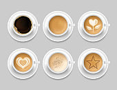 Realistic 3d Detailed Coffee Mug Top View Set. Vector