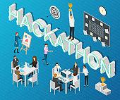 Hackathon Forum Concept Card 3d Isometric View. Vector