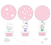 The cute baby animal with balloon air. Hand drawn cartoon style