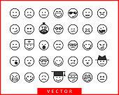 Big set smiles faces. Collection smile icon vector symbol. Smiley face cartoon character.
