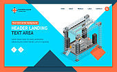 Stage for Street Performance Concept Landing Web Page Template 3d Isometric View. Vector