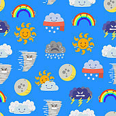 Cartoon Characters Weather Forecast Seamless Pattern Background. Vector