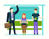Cartoon Color Characters People Passengers Inside Public Transport. Vector