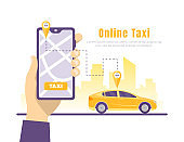 Online Car Taxi Service Concept Card Landing Web Page Template. Vector