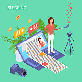 Blogging Social Media Concept 3d Isometric View. Vector