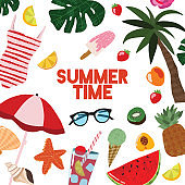 Cartoon Summertime Traveling Template Card Poster. Vector
