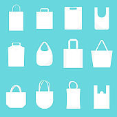 White Blank Canvas Bags Template Mockup Set. Vector