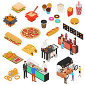Fast Food Cart Cafe Sign 3d Icon Set Isometric View. Vector