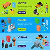 Garbage Recycling Signs 3d Banner Horizontal Set Isometric View. Vector