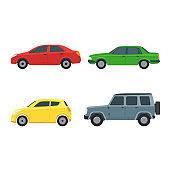 Cartoon Color Cars Sign Icon Set. Vector