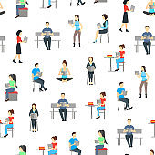 Cartoon Characters People Male and Female Reading Books Seamless Pattern Background. Vector