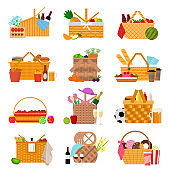 Cartoon Color Picnic Baskets Icon Set. Vector