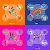 Home Party Concept with Furniture and People Banner Set Isometric View. Vector