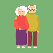 Cartoon Color Characters Couple of Elderly People Man and Woman Set. Vector