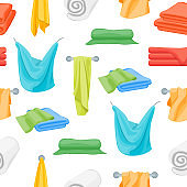Cartoon Color Folded Towels for Bathroom Seamless Pattern Background. Vector