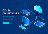 Cloud Computing Concept Landing Web Page Template. Vector