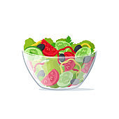 Realistic 3d Detailed Salad Fresh Vegetables in Transparent Glass Dish. Vector
