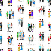 Cartoon Characters Different Homosexual Couples Families Seamless Pattern Background. Vector