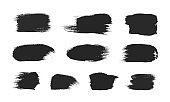 Black paintbrush strokes set isolated on white