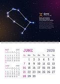 Wall calendar for June 2020 year