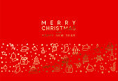 Merry Christmas red background with Xmas Golden objects, linear style design elements.
