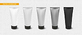 Cream or lotion tube, isolated Mock Up template. Realistic Packaging for Cosmetics. Vector object on transparent background