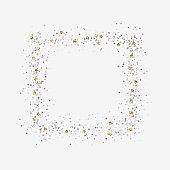 Decorative frame with glitter tinsel of confetti.