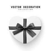 Vector white Gifts box. Isolated realistic gift presents in heart shape view top