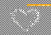 White heart of glitter light effect.