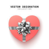 Vector pink Gifts box. Isolated realistic gift presents in heart shape view top
