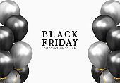 Black Friday sale. Background with black and silver balloons. Holiday banner, web poster, flyer, cover card, Festive celebrate backdrop ballons. Vector illustration