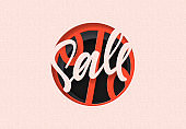 Sale in the style of paper art. Discount sticker tag label. Black friday sale price