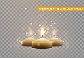 Candle burns with flame realistic vector.