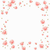 Background with pink hearts and round beads.