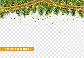 Christmas border with fir branches, string lights garland and gold tinsel.