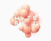 Background with pink balls, blur effect. 3d round spheres.