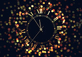 Holiday Background with shining vintage golden clock, bright glowing gold lights bokeh