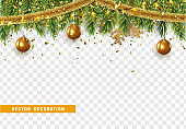 Christmas border with fir branches, string lights garland and gold tinsel, golden balls.