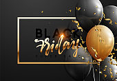 Black Friday, sale banner background with balloons. with realistic gold confetti, chic text frame lettering black Friday sale