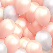 Balloons Background white and pink color.