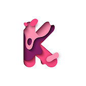 Paper cut letter K. Design 3d sign isolated on white background.