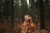 Fashion Autumn model, Fall Leaves Dress, Beauty Girl