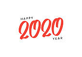 2020 New Year. Calligraphic red text color lettering numbers.