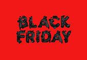 Black Friday Sale, black text logo on red background