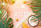 Summer tropical background. various fruits, green leaves, palm branches, realistic coconut open.