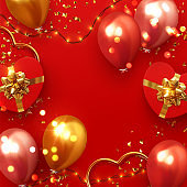 Background festive design of sparkling lights garland, realistic gifts box with heart shaped, red balloon and glitter gold confetti. Holiday poster, greeting cards, headers, website